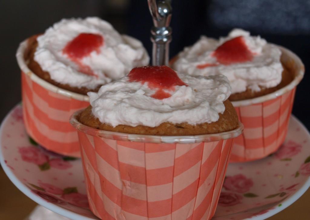 Cupcake met aardbei