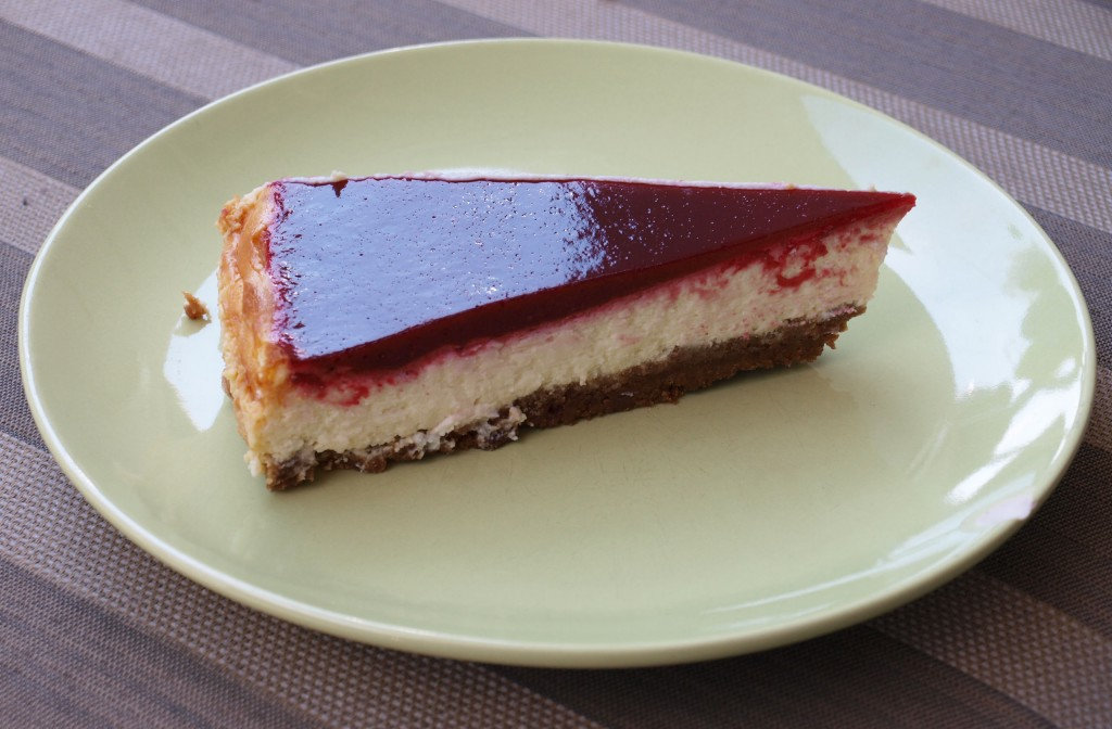 Witte chocolade cheesecake met frambozentopping